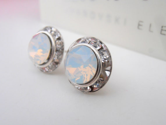 White Opal Rhinestone Halo Earrings / Swarovski Rondelle Studs / Bridal Jewelry