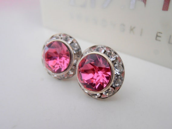 Rose Pink Swarovski Halo Earrings / Surgical Steel Wedding Jewelry / Valentine's Gift