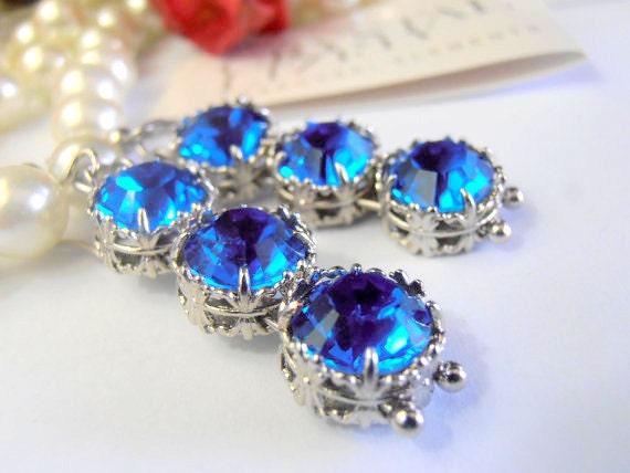Art Deco Blue Sapphire Hook Earrings w/ Swarovski Crystals / Dangle & Drop Jewelry