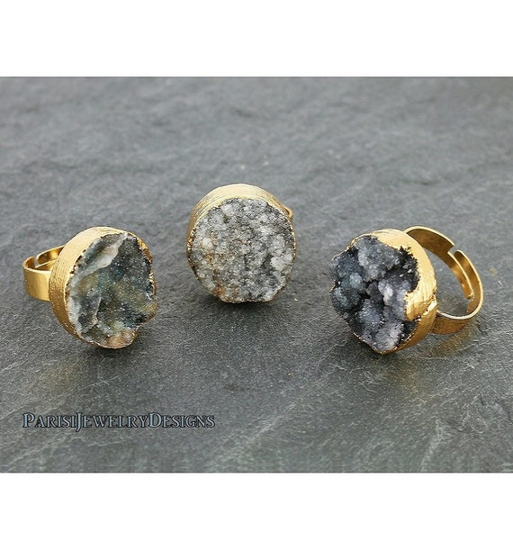 Natural Gemstone Raw Druzy Ring • Black Agate Stone • Boho Rings • Statement • Adjustable Ring • Mineral Gem • Round • 20mm Gold • 361