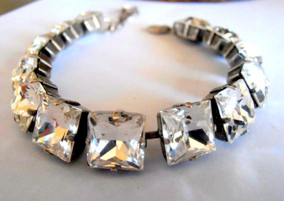 Diamond Clear Swarovski Princess Square Bracelet 4447 / Crystal Women's Jewelry