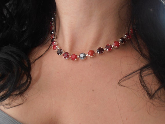Swarovski Crystal Necklace, 8mm, Ruby Red Chaton Multicolors, Silver plated setting, Choker Tennis Necklace, cupchain necklace