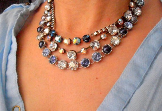 Anna Wintour Collet Necklace w/ Swarovski • Art Deco Multi Strand Jewelry