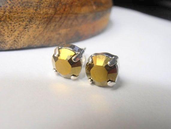 Swarovski Earrings, Stud, Post, Crystal Dorado, 8mm, Metallic Brown, Silver Plated, Fashion Earrings