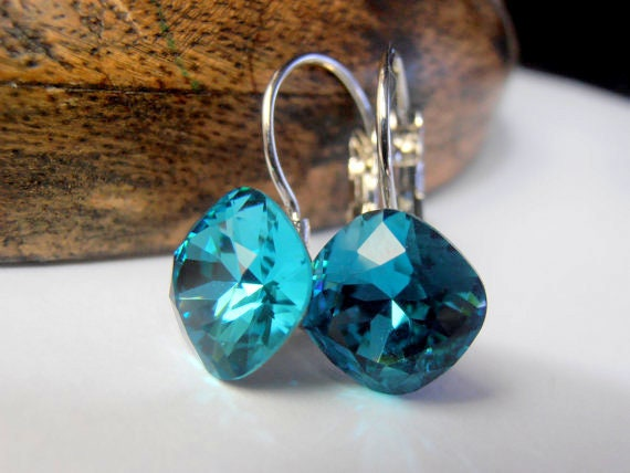 Indicolite Square Earrings w/ Swarovski / Dangle & Drop / Cushion Cut 4470 12mm Crystals