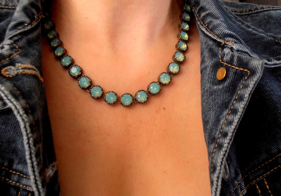 Pacific Opal Choker Necklace w/ Swarovski® Crystals • Antique Jewelry