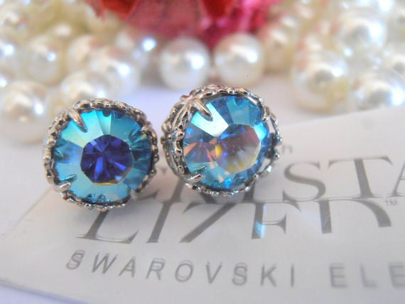 Swarovski Stud Earrings / Aquamarine AB / Filigree Post Earrings / Pierced Art Deco Earrings with Surgical steel Pads / Gift For Her