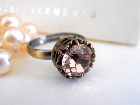Swarovski Ring, Vintage Rose Crystal, Statement, Stackable Ring, Art Deco, Adjustable, Wedding, Antique Bronze Filigree Setting