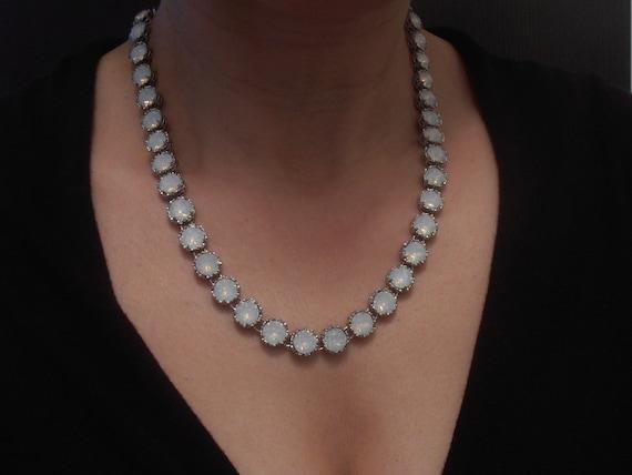 Art Deco Swarovski Crystal Necklace • White Opal Layering Jewelry