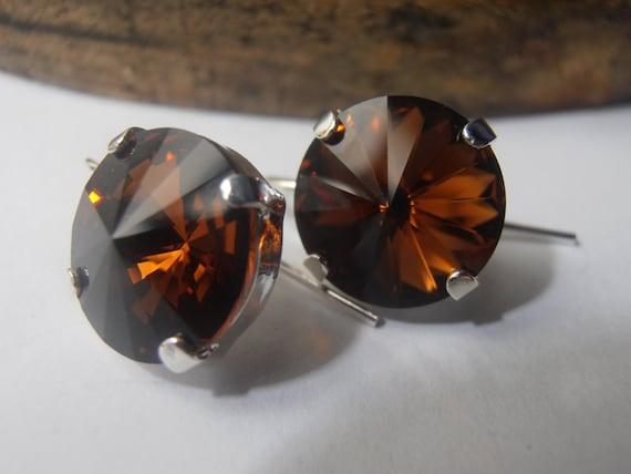 Smoked Topaz Crystal Drop Earrings / Swarovski Rivoli Earrings 12mm / Vienna / Dangle Silver Hook / Valentine Gift for her / Fashion Jewelry