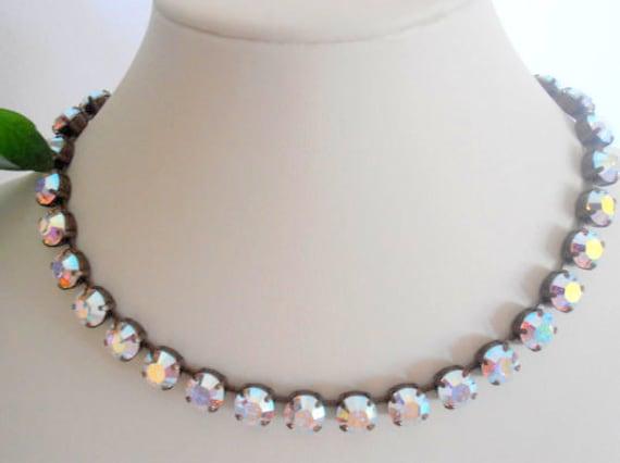 Aurora Borealis Swarovski Crystal Necklace /  Tennis Bridal Collet