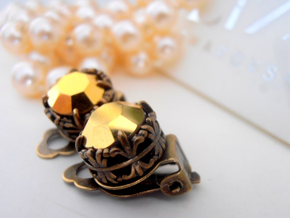 Clip On Earrings, Swarovski Clip On, Studs, Non Pierced for girls, Art Deco, Vintage Gold Metallic, Antique Bronze, Post, Filigree Jewelry