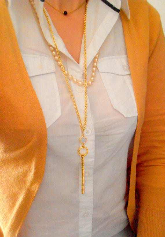 Long Mother of Pearl Clover Gold Bar Necklace / Bohemian Golden Layering Jewelry