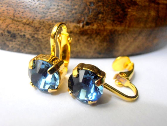 Clip on Earrings, Swarovski Clip on Studs, Denim Blue, Girls Non Pierced Earrings, Wedding, Bridal, Clip on Post, Golden tone earrings