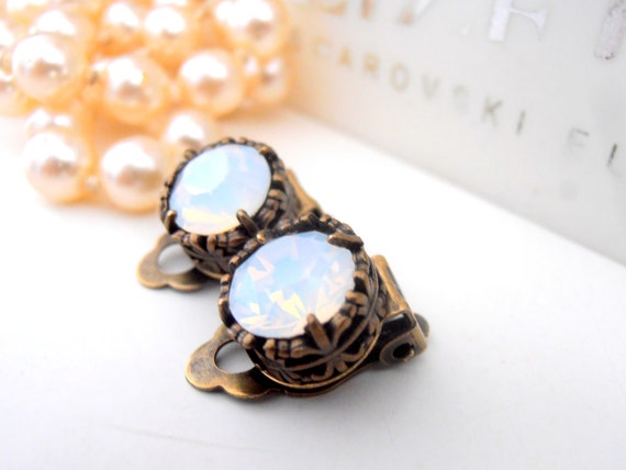 Clip On Earrings, Swarovski Earrings,  White Opal Studs, Non Pierced for girls, Art Deco, Antique Bronze, Post, Filigree, Vintage Jewelry