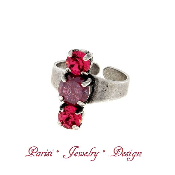 Fuchsia Swarovski Ring / Adjustable Multi stone Stacking Rings / Antique Jewelry