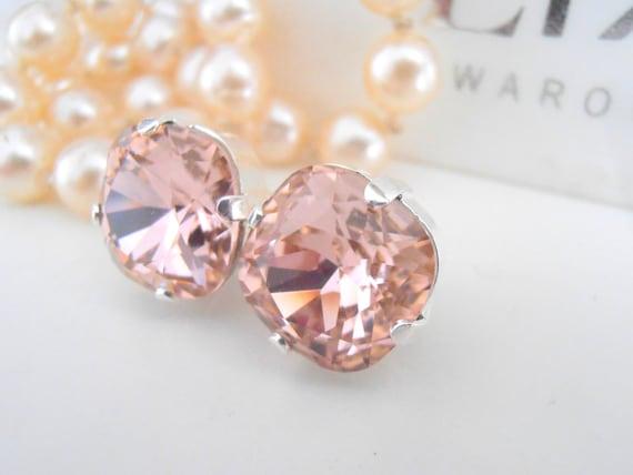 Wedding Swarovski Earrings / Bridal Cushion Cut Stud Earrings