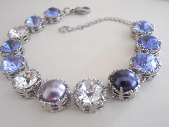 Lavender Swarovski Crystal Bracelet / Art Deco Pearl Jewelry