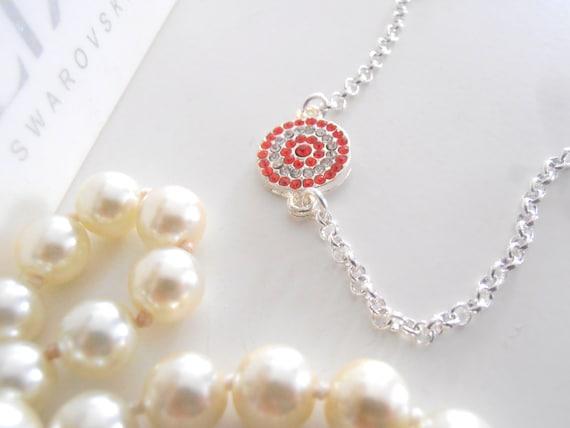 Hyacinth Crystal Mini Disc Bracelet, Link, Dainty, Minimalist, Indie Bohemian Summer Trending Jewelry in Silver Rolo Chain