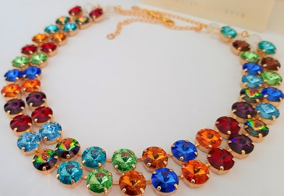 Harlequin Gold Swarovski® Crystal Necklace / Anna Wintour Choker
