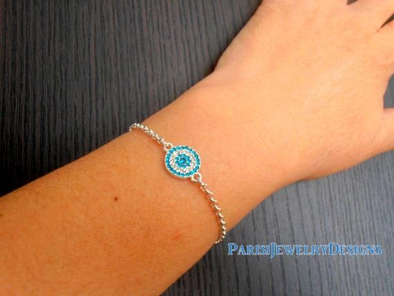 Evil Eye Bracelet / Dainty Bracelet / Micro Pave Bracelets / Layered Minimalist Bracelet / Bohemian Trending Jewelry in Silver Rolo Chain