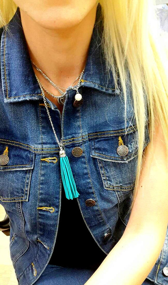 Turquoise Blue Long Suede Tassel Necklace in Surgical Steel Chain Boho Jewelry Bohemian Hippy Fashion Trending Summer Necklaces