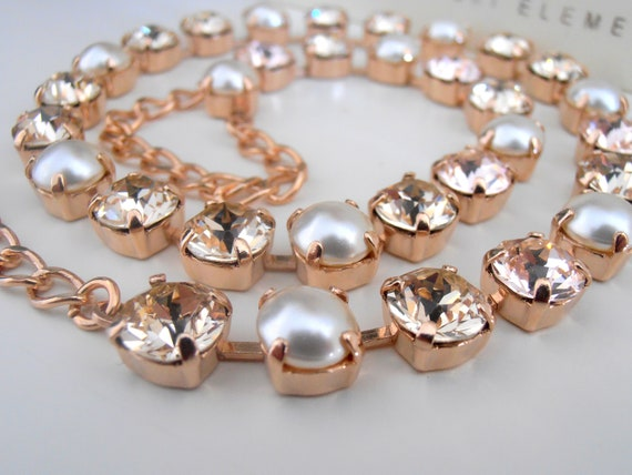 Rose Gold Pearl Swarovski Crystal Necklace / Wedding Jewelry