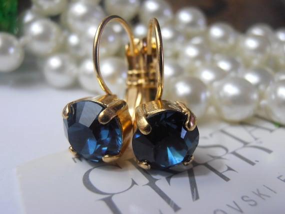 Dark Sapphire Earrings w/ Swarovski Crystals / Gold Women Jewelry