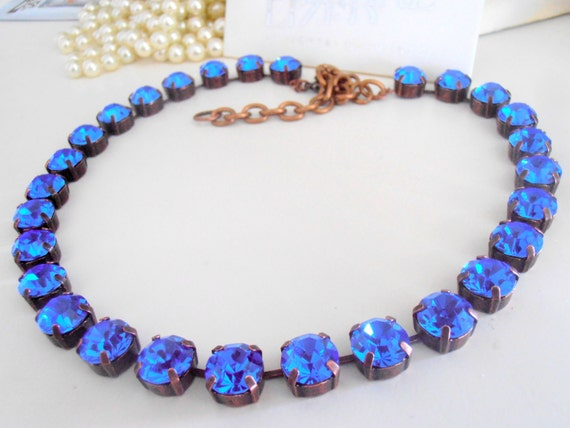 Swarovski Necklace, 10mm, Sapphire Blue, Crystal Choker, SS47, Cupchain, Antique Copper Setting, Vintage Chatons, Tennis Necklace