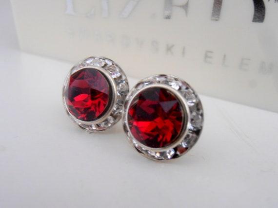 Ruby Halo Post Earrings w/ Swarovski Crystals /  Bridesmaid Pierced Studs