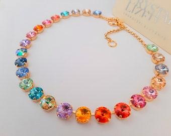 Rainbow Swarovski® Rhinestone Necklace / Anna Wintour Tennis Choker / Multicolor Gold Rivoli Collet / Women Jewelry / Birthday Gift