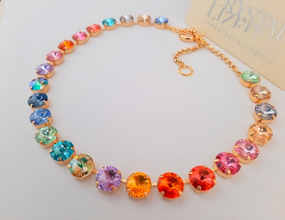 Gold Rainbow Swarovski® Necklace / Anna Wintour Rhinestone Choker