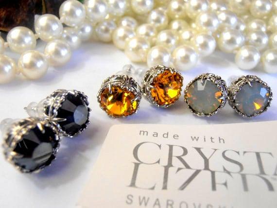 Art Deco Swarovski Stud Crystal Earrings • Surgical steel Pierced Post Earrings • Gift