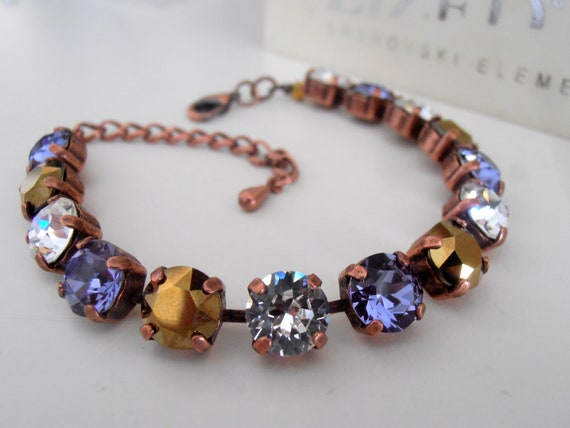 Multi-colors Swarovski Crystal Bracelet / Women Jewelry / Tennis Cupchain