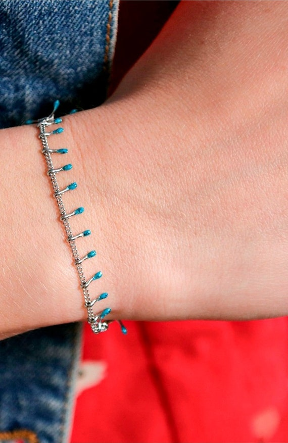 Turquoise Stainless Steel Chain with Drops Dainty Bracelet l