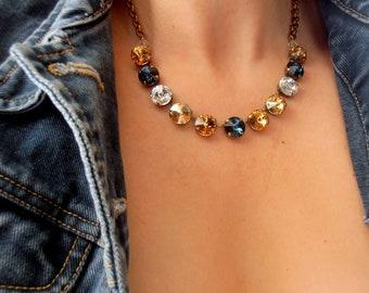Brown Multicolors Rivoli Necklace with Swarovski Crystals • Anna Wintour Collar 12mm • Antique Bronze Jewelry