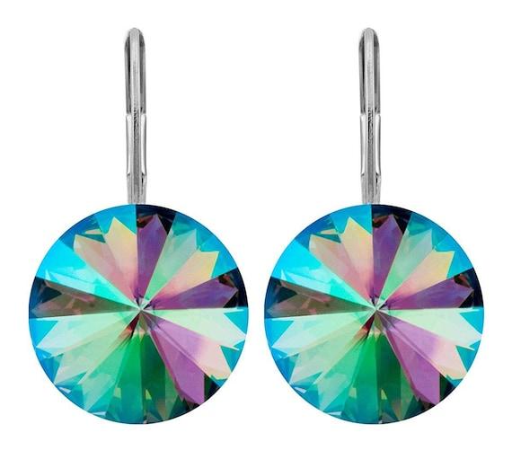 Paradise Shine Dangle Lever back Earrings w/ Swarovski Rivoli Crystals
