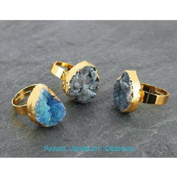 Turquoise Pear Druzy Ring / Agate Stone / Gemstone Boho Rings/  Statement Adjustable Ring / Mineral Gem  20mm Gold / Bohemian