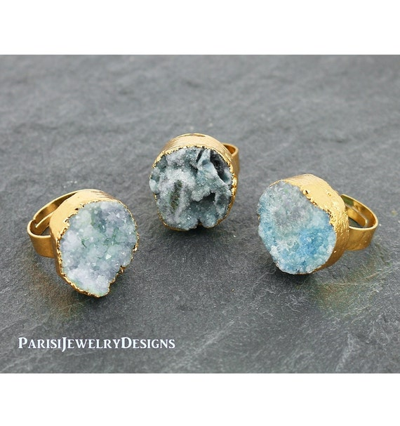 Raw Druzy Ring • Statement Boho Rings • Pale Blue Agate Stone • Gold Adjustable Ring for Gift • Natural Gemstone Mineral • Round 20mm