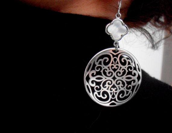 Bohemian Statement Earrings / Clover Charm Boho Jewelry