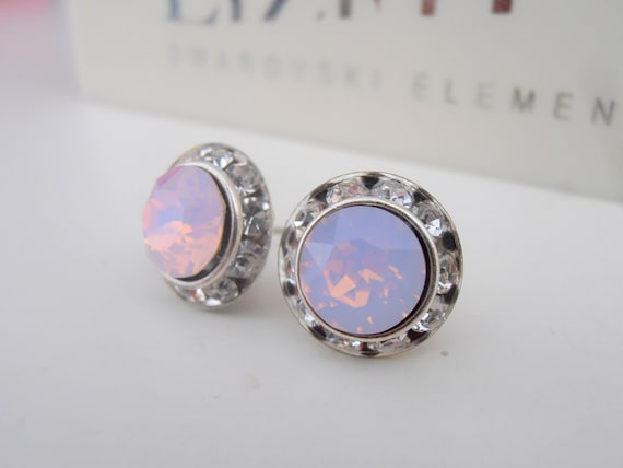 Bridal Halo Swarovski Earrings/ Rose water Opal Stud / Statement woman's Jewelry