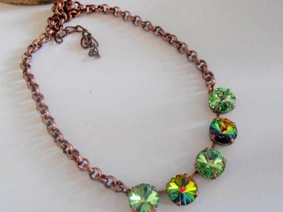 Multicolor Green Crystal Necklace / Swarovski Rivoli Necklace / Cupchain Tennis / Antique copper Jewelry / Victorian / Valentine Gift /