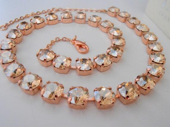 Rose Gold Swarovski Necklace / Crystal Choker Wedding Jewelry