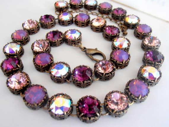 Art Deco Amethyst Multicolors Bronze Necklace With Swarovski Crystals