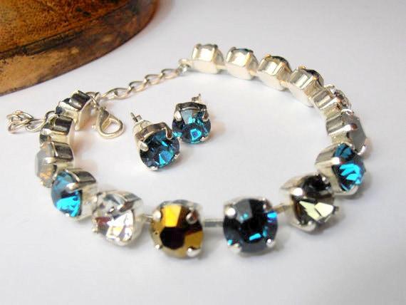Multicolor Blue Zircon, SET, Swarovski crystal Bracelet, Tennis, 8mm, SS39, Chatons, Silver plated, Shabby, Summer Jewelry