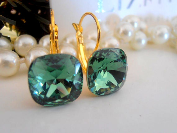 Swarovski Earrings, Erinite Green, Crystal, 12mm, 4470, Cushion Cut, Leverback Golden setting, Dangle, Drop, Wedding Jewelry