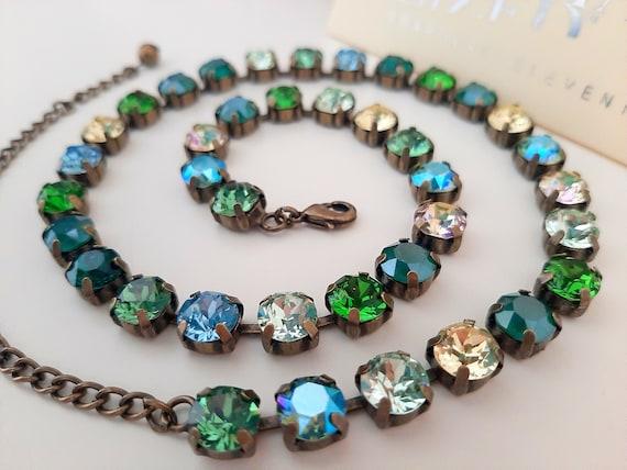 Multicolors Tennis Necklace w/Swarovski Crystals • Antique Jewelry