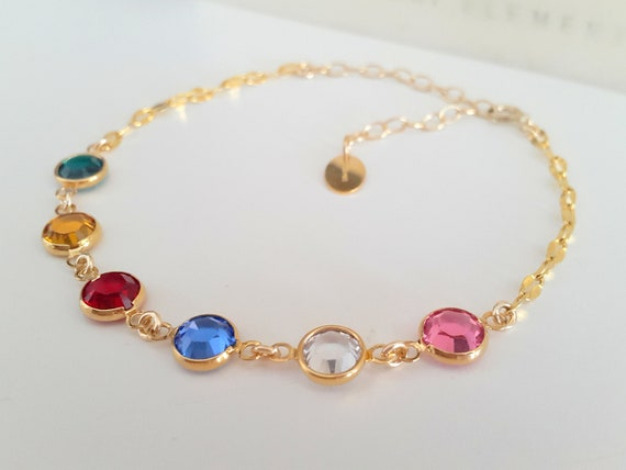 Multi-Colors Birthstone Bracelet w/ Swarovski Channels • Gold Filled Jewelry
