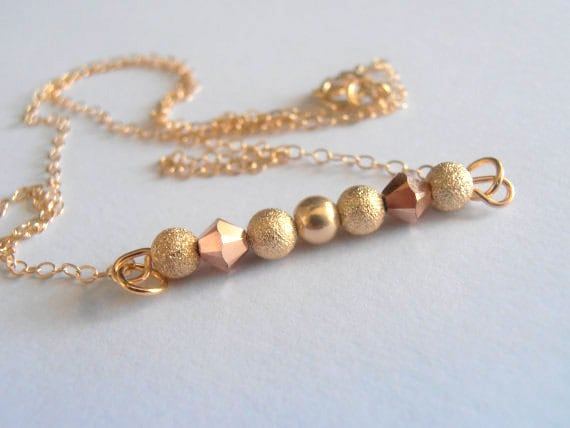 Gold Filled Bar Pendant Necklace / Dainty Crystal Pendant / Swarovski Rose Gold Bicones/Glitter Beaded Necklace 14/20K / Valentine's Gift