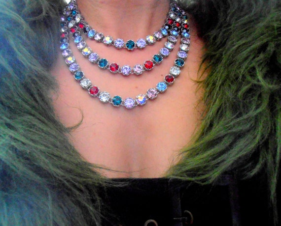 Multi Strand Layered Statement Necklace w/ Swarovski Crystals
